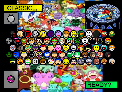 Based on super smash flash 3 all charcters unlocked remix by kirby