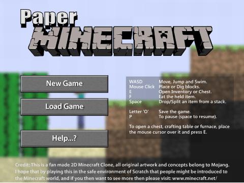 Paper Minecraft demo on Scratch