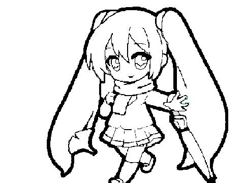 cute hatsune miku coloring pages - Hatsune Miku Chibi Coloring Pages